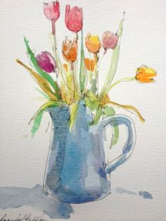 Original Water Colour and Pencil Painting 'Tulips in a Blue Jug'. Signed.