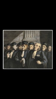 """Honoré Daumier - """" Les avocats, le parquet des avocats """", executed in the early 1860s. - Pen and ink, watercolor and gouache on paper - 23,5 x 31,5 cm"""