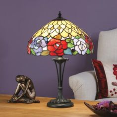 Kichiri Small Table by Interiors 1900 ndividually hand-crafted peices of beautiful Art Glass create a stunning array of colour. H:	470 W:	320 D:	320 Bulbs:	1 x 60 E14 Fittings:	TB10M Shade:	T108SH30