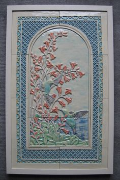 latest commission 'Humming Birds' framed panel