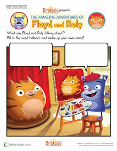 Preschool Kindergarten First Grade Second Grade Writing Stories Worksheets: Brainzy Presents: The Amazing Adventures of Floyd and Roly