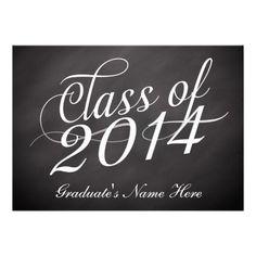 Chalkboard Swirl Class of 2014 Personalized Invites