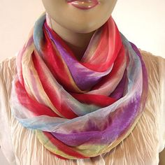 Infinity Scarf Watercolor Ombre Pastel Summer Circle Scarf Chunky Wide Scarf White Lilac Coral Light Blue