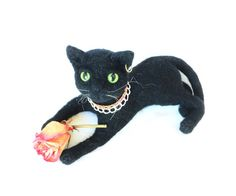 Soft Sculpture Black Cat Felt Toys Felted Animals by WoolPaw