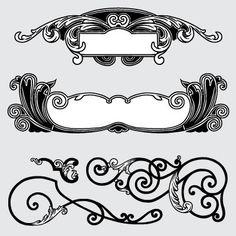 Vector Design, Graphic Design, Tattoo Lettering Fonts, Decorative Borders, Ex Libris, Swirls, Design Elements, Art Nouveau, Vector Free