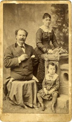 ca. 1860-90s, [carte de visite portrait of Eli Bowen,The Legless Acrobat, with his wife and child], A. Newman via Jeffrey Kraus, Antique Photographics