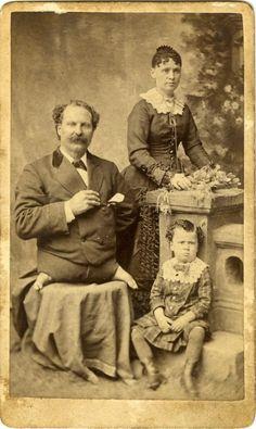 ca. 1860-90s, [carte de visite portrait of Eli Bowen,The Legless Acrobat, with his wife and child], A. Newman via Jeffrey Kraus, Antique Photographics
