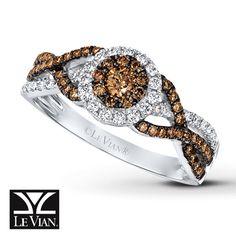 LeVian Chocolate Diamonds 5/8 ct tw Ring 14K Vanilla Gold