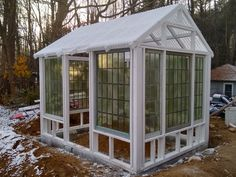 Window Greenhouse, Build A Greenhouse, Greenhouse Ideas, Reclaimed Windows, Simply Home, Old Windows, Greenhouses, Conservatory, Sheds