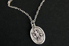 c3e5813be6b Saint Hubert Necklace. Christian Necklace. St Hubert Medal Necklace. Patron  Saint Necklace. Catholic Jewelry. Catholic Saint Necklace.