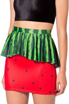 Watermelon is actually a vegetable, closely related to squash and cucumbers! It also looks mega cute as a peplum skirt. Feel the watermelon. Be the watermelon. Red Skirts, Cute Skirts, Watermelon Outfit, Watermelon Skirt, Watermelon Patch, Harajuku Fashion, Fashion Outfits, Black Milk Clothing, Pretty Dresses