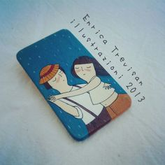 "Rectangular wooden brooch ""dance in the rain!"". Hand painted with acrylic colors."