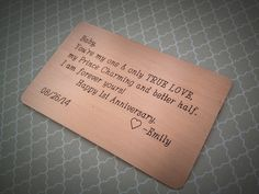 Wallet insert card aluminum hand stamped anniversary husband