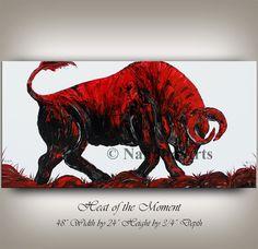 Animales Bull pared arte pintura abstracta, 48 Red BULL arte moderno venta lienzo arte arte abstracto tapices con textura fina - Nandita Galería de arte: http://etsy.me/290cqR8 Pintura de Toro / Animal Art: http://etsy.me/290cqR8?section_id=13846236 ==================================== Este es un aceite único absolutamente original de uno de tipo acrílico pintura. Mano pintada y firmada por mí Nandita Albright. Venta directa desde Dallas Texas. =================================== Logo © N...