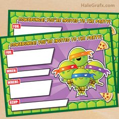 FREE Printable TMNT Ninja Turtle Birthday Invitation