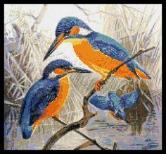Kingfisher birds cross stitch kit or pattern