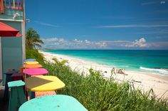 The view from the deck at Nippers Beach Bar and Grill in Great Guana Cay, Abaco, Bahamas.