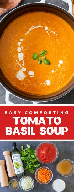A deliciously creamy and comforting tomato basil soup. This soup is light and creamy perfect for any day. This tomato soup is the perfect thing to serve with grilled cheese. This soup is healthy and packed with veggies, it makes for the perfect vegetarian lunch or dinner. #tomatobasilsoup