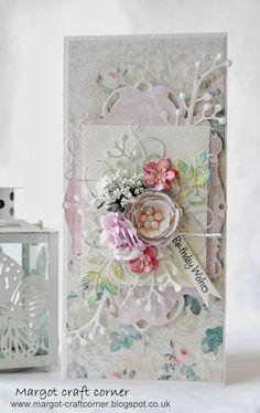 Margot - craft corner Shabby Chic Cards, Birthday Cards For Women, Ideas Geniales, Die Cut Cards, Craft Corner, Shabby Vintage, Blossom Flower, Vintage Cards, Birthday Wishes