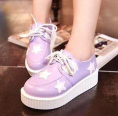 "Cute harajuku stars platform shoes Use code: ""cherry blossom"" get 10% OFF everytime you shop at (www.sanrense.com)."