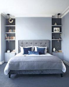 Blue bedrooms, bedroom carpet colors, blue bedroom decor, light blue be Blue Gray Bedroom, Blue Bedroom Decor, Blue Rooms, Bedroom Colors, Design Bedroom, Gray Decor, Bedroom Themes, White Bedroom, Blue Walls