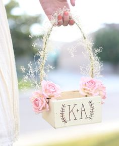 Personalized Rustic Chic Flower Girl Basket Paper por braggingbags