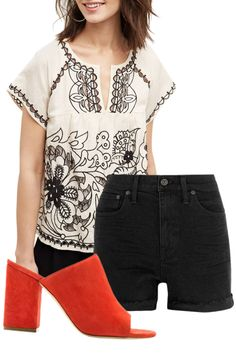 Boho Chic is perfect for spring-love this embroidered top, denim shorts and sandals.