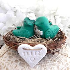 Love Birds Wedding Cake Topper Emerald Green and by LavaGifts, $62.00
