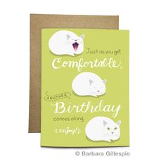 Comfortable Cat Birthday Card / CBD-02 by flopsockdesigns on Etsy