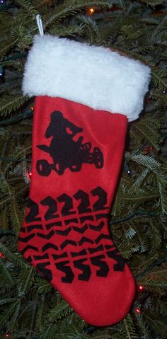 Quad ATV Christmas Stocking - Customizable with Race Number on Etsy, $25.00