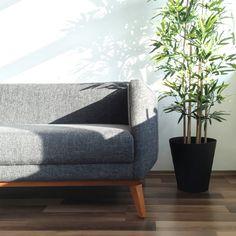 retro sofa + ikea fejka office plant