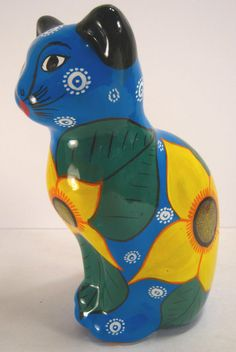 """Hand Painted Mexican Pottery Cat Piggy Bank Statue Figurine 8 1/2""""  #Unknown"""