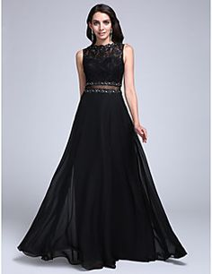 TS+Couture®+Formal+Evening+Dress+A-line+Bateau+Floor-length+Chiffon+/+Lace+with+Appliques+/+Beading+/+Lace+–+USD+$+99.99