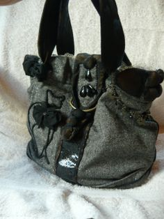 Ezüstös  szövet cicás táska, Ruha, divat, cipő, Táska, Női ruha, Válltáska, oldaltáska, Meska