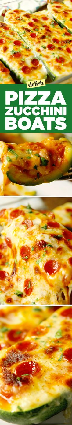 Pizza zucchini boats are the healthiest way to eat pizza. Get the recipe on Delish.com. (Zuchinni Squash Recipes)