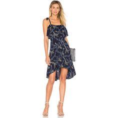 devlin Regine Dress ($120) ❤ liked on Polyvore featuring dresses, devlin, rayon dress, flouncy dress, ruffle dress and asymmetrical hem dress