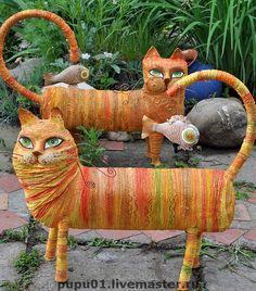 Cats by Tatiana Pushina. Paper mache, twine.