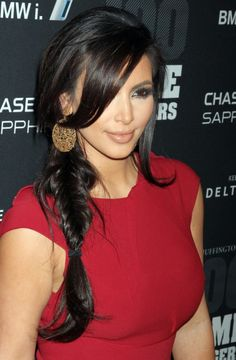 Kim Kardashian Sexy Side Inverted Braid with Bangs – 2013 Braided Hairstyles | Hairstyles Weekly