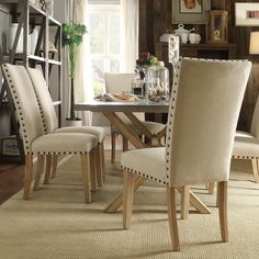 INSPIRE Q Aberdeen Beige Upholstered Nail head Parson Chair (Set of 2) - Overstock Shopping - Great Deals on INSPIRE Q Dining Chairs