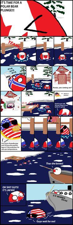 Polar Dipping ( Canada, Norway, Russia, USA, Japan ) by Black Mirror #polandball #countryball