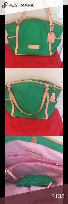 DB Green logo handbag Tote Extra large pristine except a few small ink marks on inside  15x 12.5 x 6  I love the Green  Leather excellent Dooney & Bourke Bags Totes