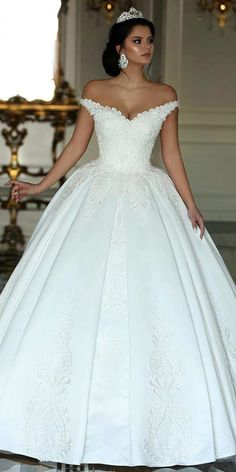 207a1317a1  226.80  Fabulous Satin Off-the-shoulder Neckline Ball Gown Wedding Dresses  With Beaded Lace Appliques