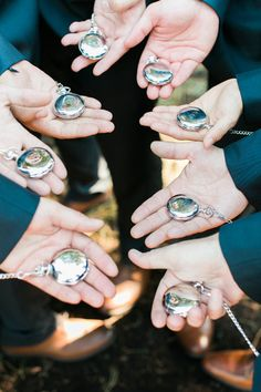 Custom pocket watches for the groomsmen: http://www.stylemepretty.com/oregon-weddings/west-linn/2016/04/05/an-1887-farmhouse-played-host-to-this-rustic-garden-wedding/ | Photography: Sweetlife Photography - http://www.lovethesweetlife.com/