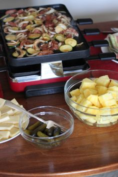 Swiss raclette cheese grill party