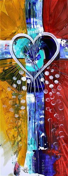 """""""Love One Another"""" (2012) Abstract Cross Art from J. Vincent Scarpace, Artist http://ipaintfish.com/2012_originals/currentworksforsale_loveoneanother_page.htm $75."""
