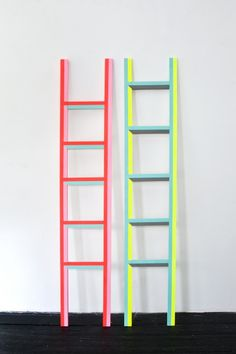 Neon ladder by Ben Jones. Hang up those scarves on the floor Neon Colors, Colours, Candy Colors, Bright Colors, Ben Jones, Monochromatic Room, Geometric Artwork, Behati Prinsloo, Home Deco