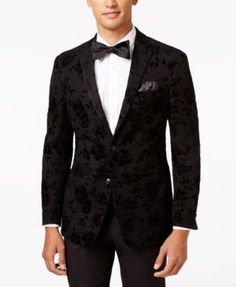 Tallia Men s Slim-Fit Black Rose-Print Evening Jacket Men - Blazers   Sport  Coats - Macy s 73f17c483