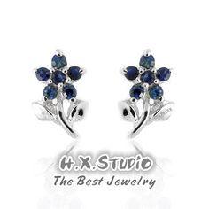 Genuine Blue Sapphire Flower-Shape Sterling Silver Earrings, Silver Sapphire Earrings Studs, Sapphire Jewelry, Gift