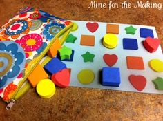 Shape match activity. Put shapes on a paper, take a pic, print it out, laminate it and have them match it up. You can also do this with ABC magnets!