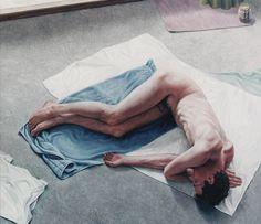 Zelfportret liggend / Self-portrait lying, 60 x 70 cm, oil on canvas, 1996.